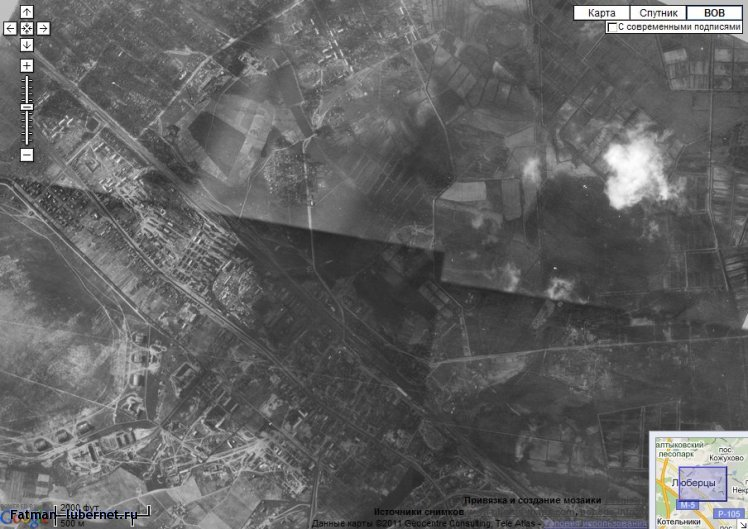 Фотография: Люберцы 1942.jpg с сайта Аэрофотосъёмка времён второй Мировой войны:http://wwii.sasgis.ru/?lat=55.733586340604376&lon=37.58440017700195&z=14, пользователя: Fatman